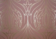 ... Brown wallpaper with gold outline tulip design, in an art deco style