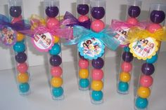 Lego Friends inspired Gumball Favors, Set of 12, filled, tied with Tags & Organza Ribbon
