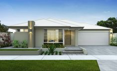 Modern rendered facade with light Colorbond roof and garage door, soft greeny-beige on the walls and white window frames. Bungalow Haus Design, Bungalow House Plans, House Design, Colorbond Roof, Storey Homes, Australian Homes, Facade House, Mid Century House, House Front