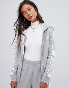 Buy adidas Originals Three Stripe Zip Thru Hoodie In Grey at ASOS. With free delivery and return options (Ts&Cs apply), online shopping has never been so easy. Get the latest trends with ASOS now. Grey Adidas Sweatpants, Adidas Zip Hoodie, Adidas Jumper, Adidas Zip Up, Adidas Outfit, Grey Adidas Tracksuit, Black Hoodie Outfit, Casual Skirt Outfits, Dope Outfits