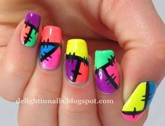 Delight In Nails: 52 Week Pick n Mix Challenge - Patchwork + Bright and Happy ♥≻★≺♥ Subtle Nails, Funky Nails, Neon Nails, Dope Nails, Bright Nails, Halloween Acrylic Nails, Best Acrylic Nails, Funky Nail Designs, Nail Art Designs