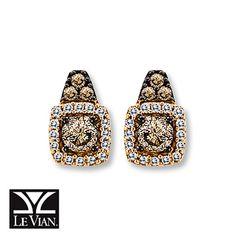 Chocolate Diamonds®  3/8 ct tw Earrings  14K Strawberry Gold® Stunning.