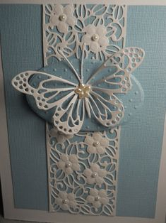 Butterfly white butterfly butterfly in white butterfly on Wedding Cards Handmade, Handmade Birthday Cards, Greeting Cards Handmade, White Butterfly, Butterfly Cards, Flower Cards, Embossed Cards, Die Cut Cards, Paper Cards