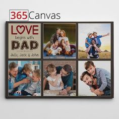 The custom photo collage canvas print is a great way to keep the memories you have with your father close by. The Love Begins with Dad canvas print lets you upload up to five photos of your dad and yours.  #fathersday #canvas #print #custom #photo #collage #dad #father #gift #ideas Photo Collage Canvas, Jack Johns, Personalized Gifts For Dad, Custom Canvas Prints, Dad Birthday, You Are The Father, Custom Photo, Family Photos, Vibrant Colors