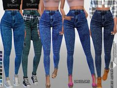 The Sims Resource: High Waisted Dark Denim Jeggings by Pinkzombiecupcakes • Sims 4 Downloads