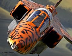 A specially painted Jaguar aircraft takes to the skies over RAF Coningsby for a final flight by Defence Images