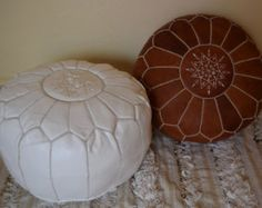 Set of 2 Leather poufs, ottoman luxury tan & white floor poufs, moroccan home decor