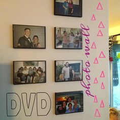 Larisa used Kicksend to order photo prints from her phone and pick them up at Target to create this easy DIY photo wall with recycled CD/DVD cases