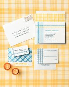 Plaid and houndstooth come together on these letterpress invitations