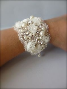 Wedding Cuff Bracelet ~ Victorian Wide Cuff Bracelet, FALL Bridal Bracelet, Wedding Jewelry and Fine Handcrafted Bracelets Lace Jewelry, Textile Jewelry, Fabric Jewelry, Bridal Jewelry, Jewelry Crafts, Handmade Jewelry, Jewelry Ideas, Bridal Earrings, Gold Jewellery