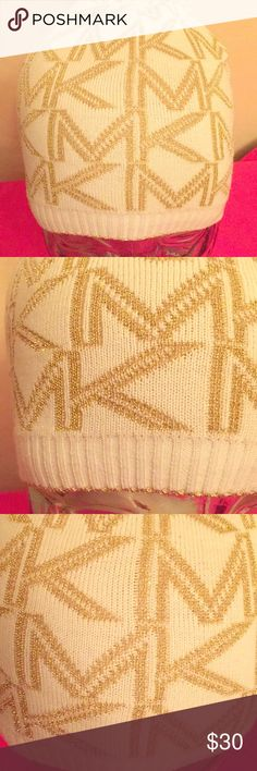 🆕 Michael Kors Metallic Beanie Authentic Michael Kors Metallic Logo Beanie. Cream with Gold Metallic MK Logos. Ribbed. Solid Cream Bottom with Gold Metallic Border. 45% Acrylic/36% Polyester/19% Metallic. Brand New. Excellent Condition. No Trades. See Other Cool Michael Kors Listings in My Closet. 👌🏽 Michael Kors Accessories Hats