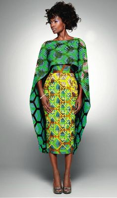 An Afrocentric vision of loveliness in tribal print green two-piece.