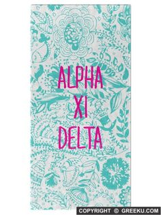 Sorority Floral Pattern Blue Lines Lightweight Beach Towel | Free Shipping. Order for your sorority (shown in Alpha Xi Delta)! ** Also comes in other designs. Shop now! http://www.greeku.com/sorority/merchandise/home-decor/beach-towels/floral-pattern-blue-lines-beach-towel/