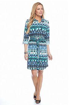 Kim Rogers® Petite Collared Printed Dress
