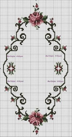 Cross Stitch Borders, Cross Stitch Rose, Modern Cross Stitch, Cross Stitch Flowers, Cross Stitch Charts, Cross Stitch Designs, Cross Stitching, Cross Stitch Patterns, Ribbon Embroidery