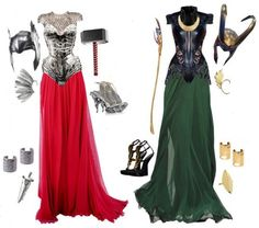 Thunder & Mischief, created by white-yolk on Polyvore. A feminine take on everyone's favourite Asgardian duo, Thor and Loki.
