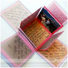 Use this tutorial to create your own exploding love box and fill the 24+ flaps with pictures and personalized messages for your sweetheart!