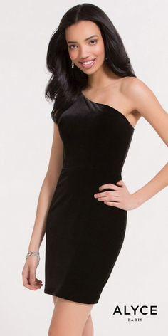 If your looking for a simple yet fabulous little black dress, the One Shoulder Fitted Velvet Cocktail Dress by Alyce Paris is a perfect choice. This chic ensemble features a one shoulder neckline, a sleeveless bodice and a covered back. The fitted silhouette also includes stunning velvet fabric, an invisible zipper closure and a short cocktail length. #edressme
