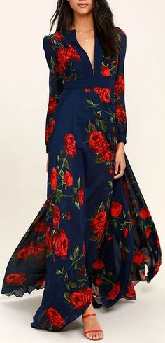Blossom Navy Blue and Russian Red floral print maxi dress, masterfully tailored, flowing, elegant dress. $136, a wardrobe builder. We love it. Enjoy RUSHWORLD boards, BUDGET PRINCESS COUTURE and UNPREDICTABLE WOMEN HAUTE COUTURE. Follow RUSHWORLD! We're on the hunt for everything you'll love! #BudgetFashion #BudgetPrincessCouture #WhatToWear #Womendresses