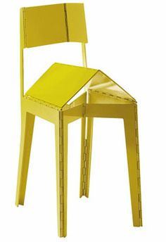 Cappellini - Stitch  When stacking chairs seem passé, consider folding. Adam Goodrum's Stitch collapses accordion-style, thanks to hinges in the middle of the seat and back's lacquered-aluminum plates. The chair is offered in high-gloss yellow and red in addition to black, white, gray, blue, and a multicolored version. 212-966-0669; cappellini.it.