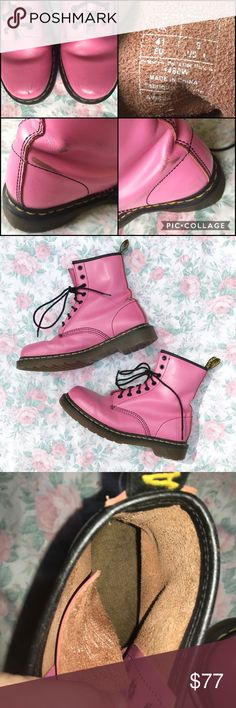 Bubblegum pink Doc Martens, size 9! These docs are everythinggg! I got them ages ago and actually wore them on my first day of high school super comfy, worn in with a bit of scuffs but nothing major! Please see pics for wear!!!! They're definitely a true size 9 but could fit an 8.5 too! MUCH cheaper over on my depop! depop name: sean_said (all lowercase with an underscore.) reasonable offers considered! just please keep in mind posh fees are ridiculously high Dr. Martens Shoes Combat & Moto…