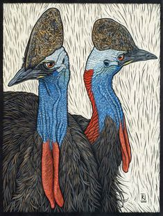 Linocuts by artist Rachel Newling of Australian birds, King parrot,  Emu,Gang-Gang Cockatoo, Sacred Kingfisher, Black Swan, Yellow tailed black  Cockatoo, Catbird, Cassowary, Wedge tailed Eagle, Ibis & Honeyeater.  Linocuts are for saleas limited edition prints