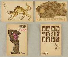 Tomoo Inagaki 1902-1980 - New Year's Greeting Cards - 1956, 1961, 1962, 1963 Artelino