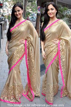 Shop Elli Avram Golden Color Bollywood Replica Saree at Best Price in India.