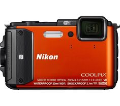 NIKON  COOLPIX AW130 Tough Compact Camera - Orange, Orange Price: £ 199.00 If you're ready for anything, but your current camera can't keep up with the pace, the tough, all-weather Nikon COOLPIX AW130 Tough Compact Camera has got you covered. Extreme durability Dive right in; the AW130 is waterproof up to 30 m, the same depth as an Advanced Open Water certification. And there's no need for...
