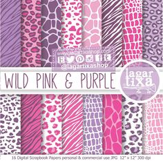 Animal Print Digital Paper Pink Purple Background giraffe zebra cheeta guepard leopard snake Scrapbooking Blog invitations thank you cards