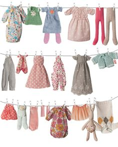 The best dressed bunnies clothing collection Maileg Dk at Sisters GyuildMaileg bunnies and their wonderful wardrobemaileg toy bunny clothes on a linemaileg i love itImage of Bunny clothing, medium *NEW Maileg Bunny, Bunny Toys, Doll Crafts, Diy Doll, Doll Patterns, Clothing Patterns, Dress Patterns, Little Dresses, Nice Dresses