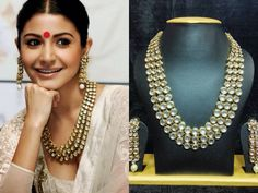 Anushka sharma famous jewelry set golden outline