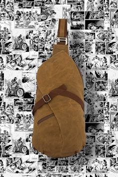 Waxed Canvas sling bag ideal for travelling. The comic book liner inside the bag is an Easter egg you'll be keen to show off. Find out more - click the link Canvas Travel Bag, Travel Bags, String Bag, Waxed Canvas, Weaving Techniques, Brass Hardware, Solid Brass, Sling Backpack, Belts
