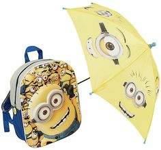 Minions Backpack and Umbrella Minion Backpack, Kids Umbrellas, Minions, Going Out, Backpacks, The Minions, Backpack, Minions Love, Backpacker