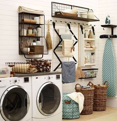 Laundry room organization Metal shelf in between cabinets to use to hang wet clothes?