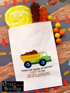 Contruction Candy Bags, Construction Birthday party, Favor bags, Candy Buffet, Birthday party, Sweets, Treats, Set of 24 on Etsy, $21.95