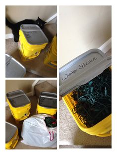 Need a place to store your Winter Solstice, Christmas or other holiday lights? Do you have cats? These cat litter bins make good storage containers for anything once they've been cleaned out. And they're stackable.