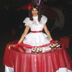 Our adorable red and white strolling table would be perfect for a Valentine's Day event! living table, table dress, Southern Belle, J and D Entertainment, Houston Entertainment company www.jdentertain.com