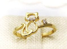 Womens Kitty Cat Ring Crystal Animal Ring Kitten by authfashion