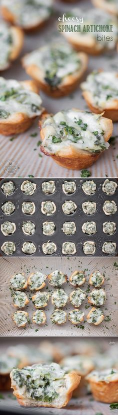 Cheesy Spinach Artichoke Bites