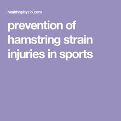prevention of hamstring strain injuries in sports