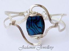 Sculpted Blue Abalone Bracelet in Sterling by JadaminJewellery, £40.00