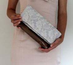 Lace and leather fold over clutch lace clutch by Amayahandmade