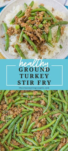 Spicy Ground Turkey Stir Fry is one of the best ground turkey recipes! Low carb, Whole30, paleo and done in under 30 minutes with 7 simple ingredients. This easy meal is great for meal prepping or a quick dinner. A healthy Asian inspired turkey dinner that everyone will love. Load it up with veggies, or just use green beans - it's up to you! Best Ground Turkey Recipes, Ground Turkey Meal Prep, Healthy Turkey Recipes, Healthy Ground Turkey, Lunch Recipes, Spicy Turkey Recipe, Whole30, Turkey And Green Beans, Turkey Stir Fry