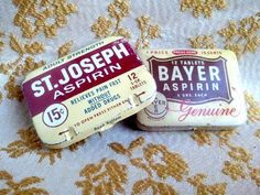 St. Joseph Aspirin  and Bayer Aspirin tins