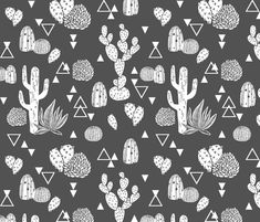 Cactus - Geo Triangles in Charcoal by Andrea Lauren fabric by andrea_lauren on Spoonflower - custom fabric