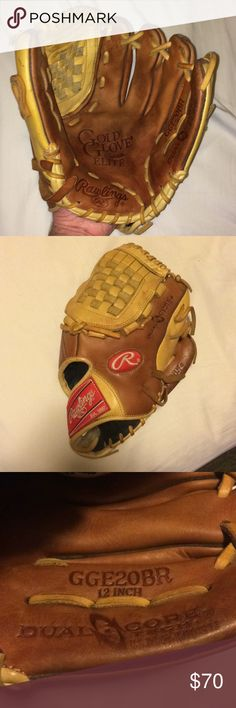 Rawlings Baseball Gold Glove Elite 12 inches Rawlings Gold Glove Elite pro design, 12 inches GGE20BR Dual Core Tech, pictures show usage, not fully broken in, nice glove that has a lot of life left to it. Rawlings Accessories Gloves