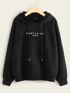 Slogan Print Drawstring HoodieCheck out this Slogan Print Drawstring Hoodie on Romwe and explore more to meet your fashion needs! Spandex Material, Lingerie Sleepwear, Direct To Garment Printer, Types Of Sleeves, Adidas Jacket, Casual, Pullover, Clothes For Women, Slogan