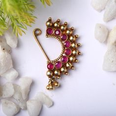 Buy Handcrafted Earrings, Necklaces, Pendants, Anklets, Bangles & Bracelets Online Price from Aadyaa. Nose Ring Jewelry, Jewelry Design Earrings, Gold Earrings Designs, Nose Rings, Antique Jewellery Designs, Fancy Jewellery, Gold Jewellery Design, Gold Jewelry Simple, Stylish Jewelry