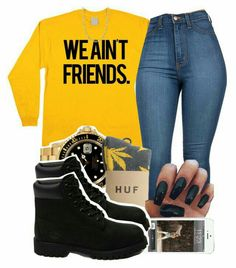 A fashion look from August 2015 featuring HUF socks, Timberland ankle booties and Rolex watches. Browse and shop related looks. Swag Outfits For Girls, Teenage Outfits, Cute Swag Outfits, Chill Outfits, Teen Fashion Outfits, Dope Outfits, Trendy Outfits, Swag Fashion, Dope Fashion